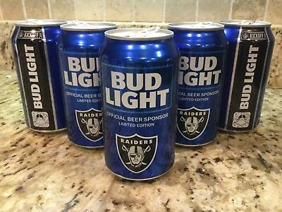 (5) BUD LIGHT NFL 2018 Oakland Raiders beer cans kickoff 2018 football