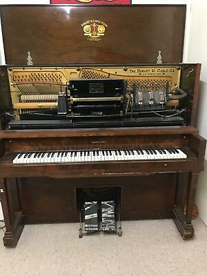 Hobart M Cable Working Player Piano + Tea Chest of 106 Rolls