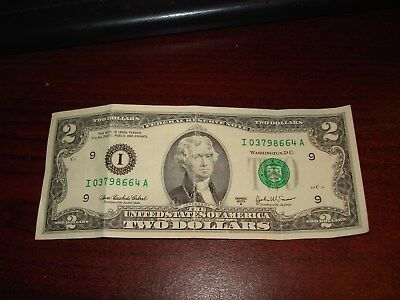 2003 A -USA $2 bank note - American two dollar bill - I 03798664 A