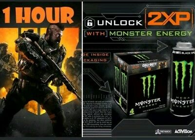 Call of Duty Black Ops 4 Double XP MONSTER ENERGY (1 HOUR) 2XP* FAST DELIVERY*