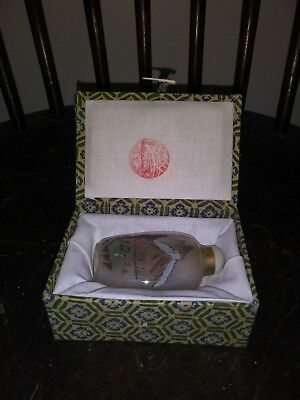 Vintage Reversed Painted Glass Chinesse Snuff Bottle W/ Box