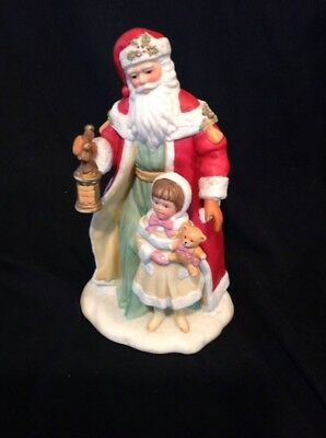 Vintage Avon Collectible Porcelain Santa with Girl Figurine Home Decor Christmas
