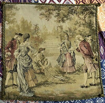 Antique French Aubusson Style Tapestry Decorative Cushion 45 X 46 Cm