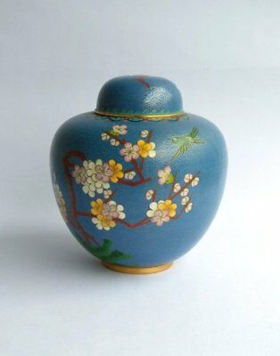 Vintage Blue Cloisonne Ginger Jar, Floral, Bird, Cherry Blossoms, Chinese Fine