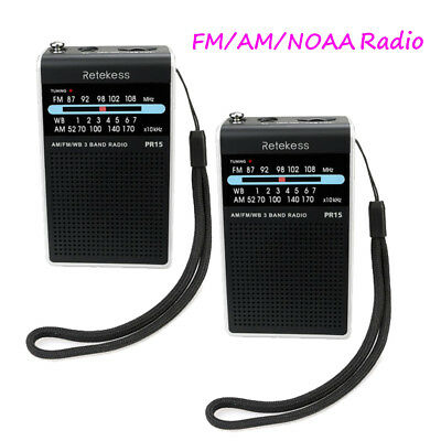 2x Retekess Mini FM /AM / NOAA Radio Pointer tuning w/Weather Warning Emergency