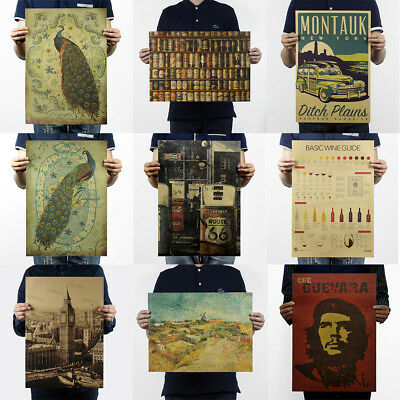 Prints/Vintage Poster History Bar Counter Adornment Retro Poster Wall Stickers