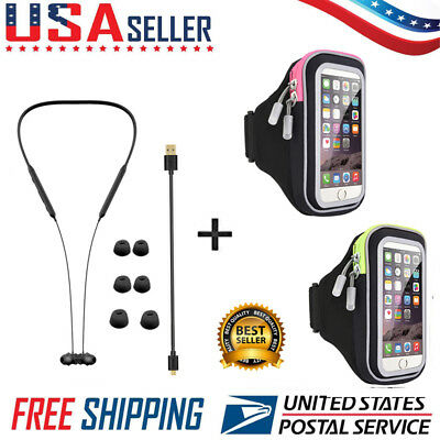 Wireless Bluetooth Sport Stereo Earbuds With Optional Armband Bundle Runner