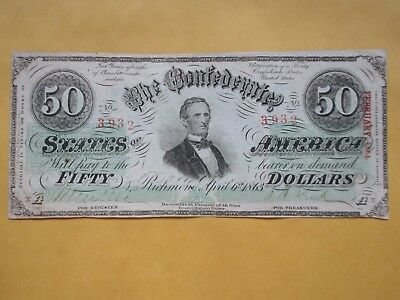 Confederate Currency 1863 $50 T-57 Fine-Very Fine