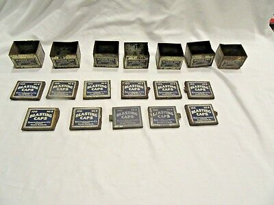 LOT of 7 Bottoms 11 Lids Vintage Peerless Blastings Cap Tin Boxes Mining ITEMS