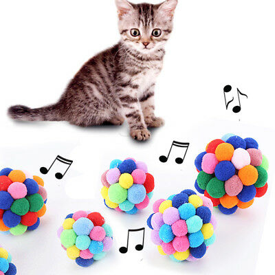 1Pcs  Cat Kitten Pet Play Balls With Jingle Bell Pounce Chase Rattle Toy