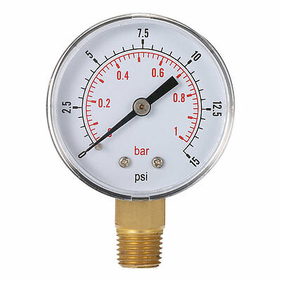 Mini Low Pressure Gauge For Fuel Air Oil Or Water 50mm 0-15 PSI 0-1 Bar SG