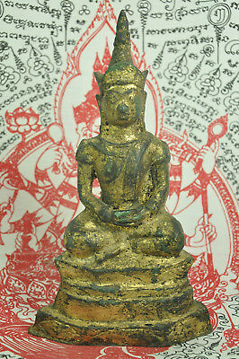 Antique Phra Chai Ngang King Emperor Thai Gilt Gold Bronze Buddha Figure Statue