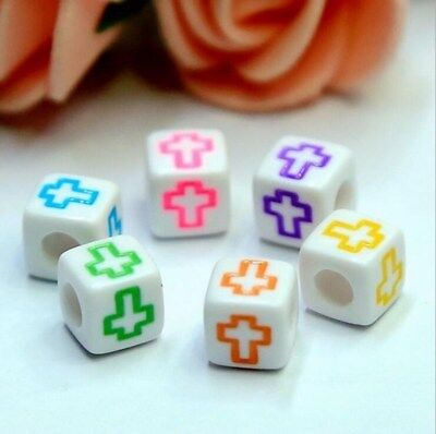 NEW 100X Cubic Mixed cross Acrylic Beads DIY Pacifier clip Necklace Jewelry 6mm