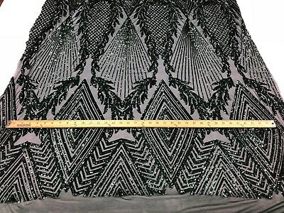Hunter Green 4 Way Stretch Sequins On A Mesh For Fashion Dress-Prom-Gown By Yard
