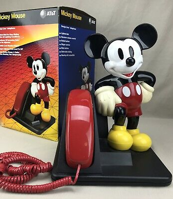 Mickey Mouse Design Line Telephone Vintage AT&T in Original Box Red Receiver