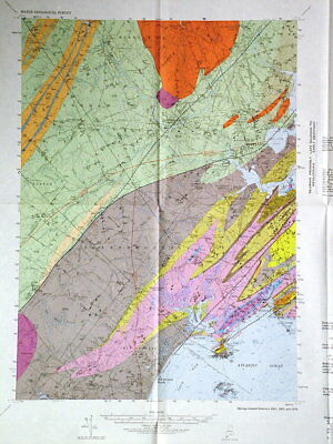 MAINE GEOLOGIC MAP of the PORTLAND QUADRANGLE, Full Color SCARCE 1971 Very Cool!