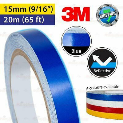 """3M BLUE Reflective Conspicuity PinStriping Vinyl Decal Tape 15mm 9/16"""" 20m 65ft"""