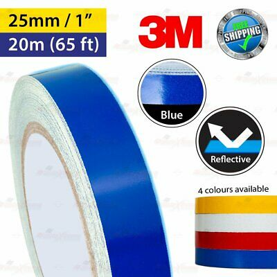 """3M BLUE Reflective Conspicuity PinStriping Vinyl Decal Tape 25mm 1.0"""" 20m 65ft"""