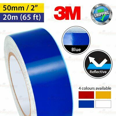 """3M BLUE Reflective Conspicuity PinStriping Vinyl Decal Tape 50mm 2.0"""" 20m 65ft"""