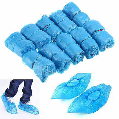 Blue 100pcs Waterproof Rain Disposable Shoe Covers Overshoes Boot Cover