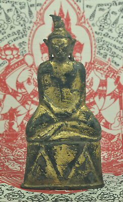 Antique Phra Ngang Ngan King Emperor Thai Gilt Gold Bronze Buddha Figure Statue