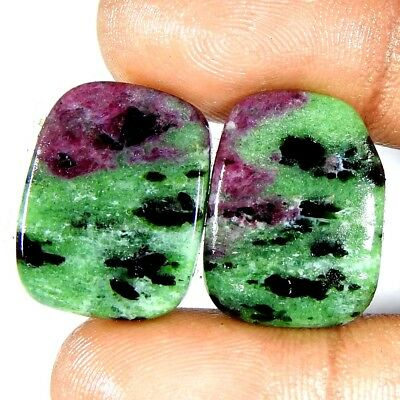 Natural Quality Red Ruby Zoisite 32.50Carat Fancy Pair Cabochon Loose Gemstone