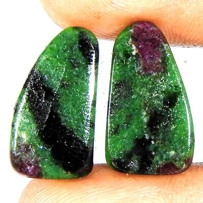 Natural Quality Red Ruby Zoisite 12.10 Carat Fancy Pair Cabochon Loose Gemstone