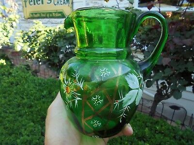 ANTIQUE VICTORIAN ENAMELLED EMERALD GREEN GLASS JUG VASE c1880