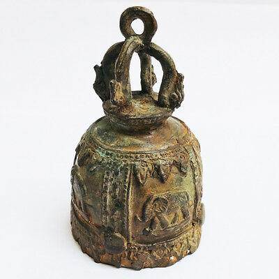 Original Thai Buddhist Antique Bell Bronze Temple Elephant pattern Chime