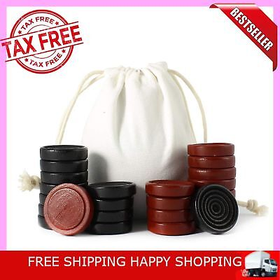 Hand Carved Wooden Checkers Black Red Stackable W/ Bag Wood Pieces 24 Pieces New