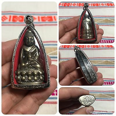 Beautiful Phra Kring Stature Solid Thai Buddha Amulet Luck Rich Protect จปร.