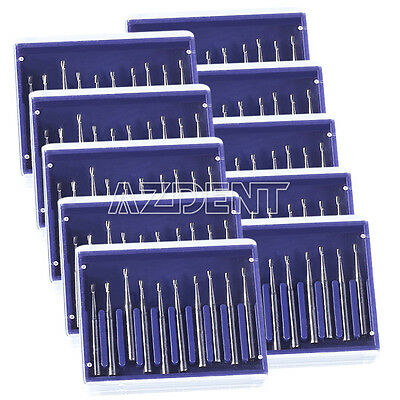 UK Dental Lab Carbide Tungsten Steel Burs Drill for High Speed Handpiece 10pcs
