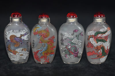 4pc Chinese folk Inside painted Longteng FIG glass snuff bottle