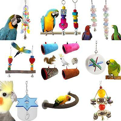 KF_ Parrot Swing Bird Wood Rope Harness Cage Toys Parakeet Cockatiel Budgie Su