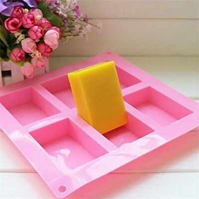6 Cavity Rectangle Silicone Mould Soap Molds Cake Baking DIY Mold Homemade Craft