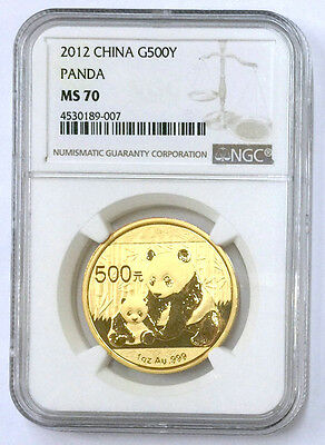2012 China panda 1oz gold coin G500Y NGC MS70