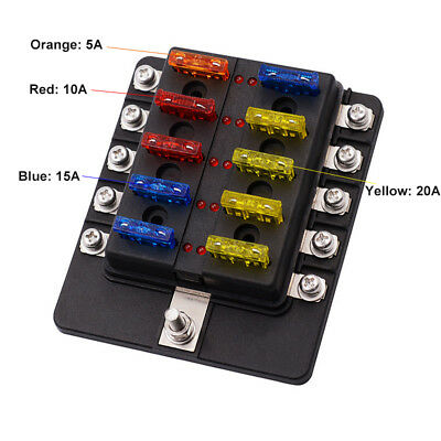10 Way Circuit Fuse Holder Fuse Box 5A 10A 15A 20A Car Vehicle Fuse Adapter Kit