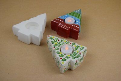 Bisque Ceramic Tealight Holder - Christmas Tree - Ready to Paint