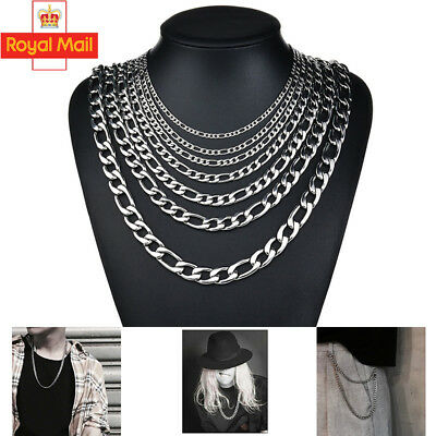 Men's Womens Stainless Steel Silver Curb Link Chunky Chain Necklace 2mm/4mm/6mm