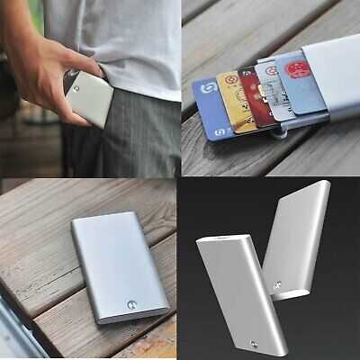 1pcs Silver For Xiaomi Automatic Up Men Business Card Holder Slim Alloy Storage