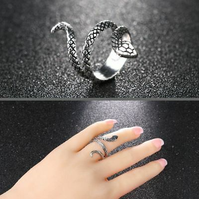 Fashion Vintage Rock Heavy Metal Punk Rings Snake Shape Jewelry Silver Plated