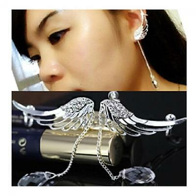 Women Jewelry Charm Ear Clip Cuff Angel Wing  Earrings Crystal Drop Dangle