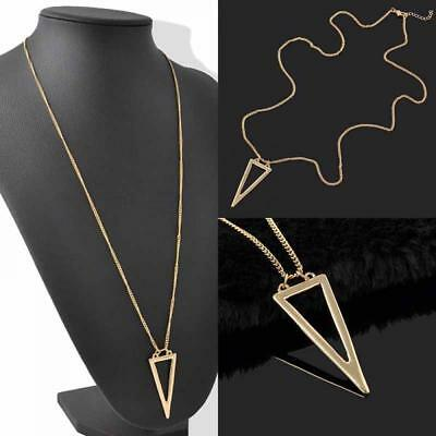 Women Fashion Jewelry Gold Plated Triangle Pendant Sweater Necklace Long Tassel