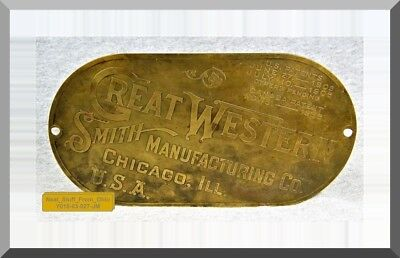 Great Western Smith Manufacturing Co. Chicago, Illinois - Lg Brass Implement Tag