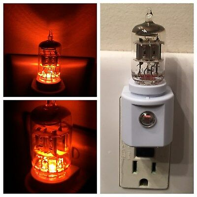 6AK5 Amber Vacuum Tube LED NIGHT LIGHT made with valve from audio tv ham radio