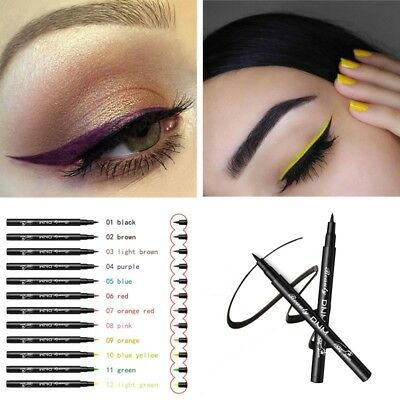 12 Color Eyeliner Long lasting Waterproof Liquid Comestics Eye Liner Pencil Pen