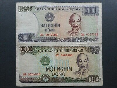 Vietnam 1000 & 2000 Dong 1987 (Lot of 2 Banknotes)