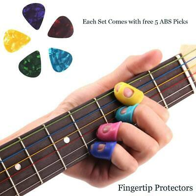 Thumb Bass Ukulele 4 Silicone Guitar Fingertip Protectors Finger Guards + 5 Pick