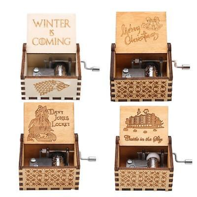 1Pc Game of Thrones Theme Engraved Wooden Music Box Craft Toy Christmas Gift