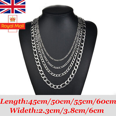 2,4,6mm 18-24 inch Mens Curb Chain Necklace Stainless Steel Sliver Charm Jewelry